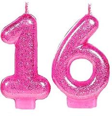 """№182 Свечи - цифры  """"16"""" розовые, с блёстками. 7,5 см."""