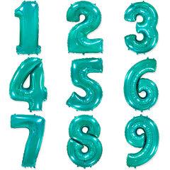 """№43 Фольгированные цифры (0 - 9 ), наполненные гелием. """"Тиффани"""" (ярко - бирюзовые), 102 см."""