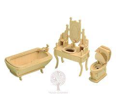 Сборная деревянная модель ВАННАЯ КОМНАТА P035 43 детали
