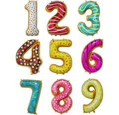 """№55 Фольгированные цифры (0 - 9), наполненные гелием. """"Пончики"""" 102 см."""