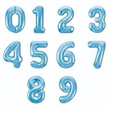№47 Фольгированные цифры (0 - 9),  наполненные гелием. Нежно голубые. 102 см.