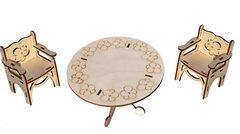 Конструктор деревянный Набор мебели для больших кукол (стол и два стула)