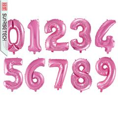 """№36 Фольгированные цифры (0 - 9),  наполненные гелием """"Розовый перламутр""""  102 см."""